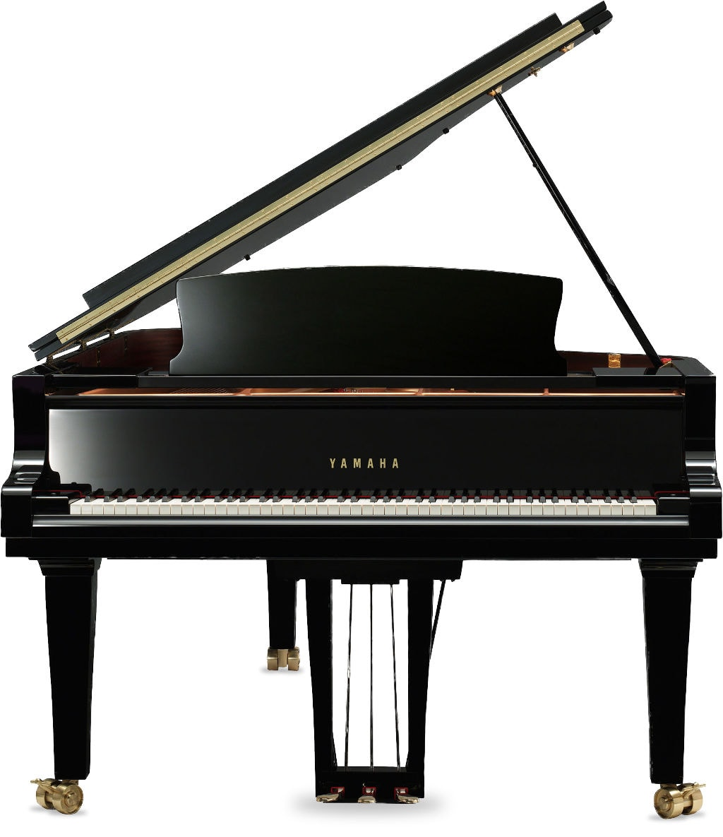 black baby grand piano open lid front view
